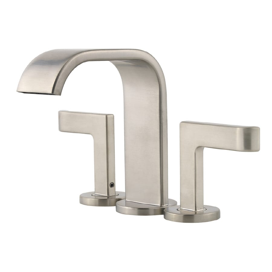 Pfister Skye Brushed Nickel 2-Handle 4-in Mini Widespread WaterSense Bathroom Faucet (Drain Included)