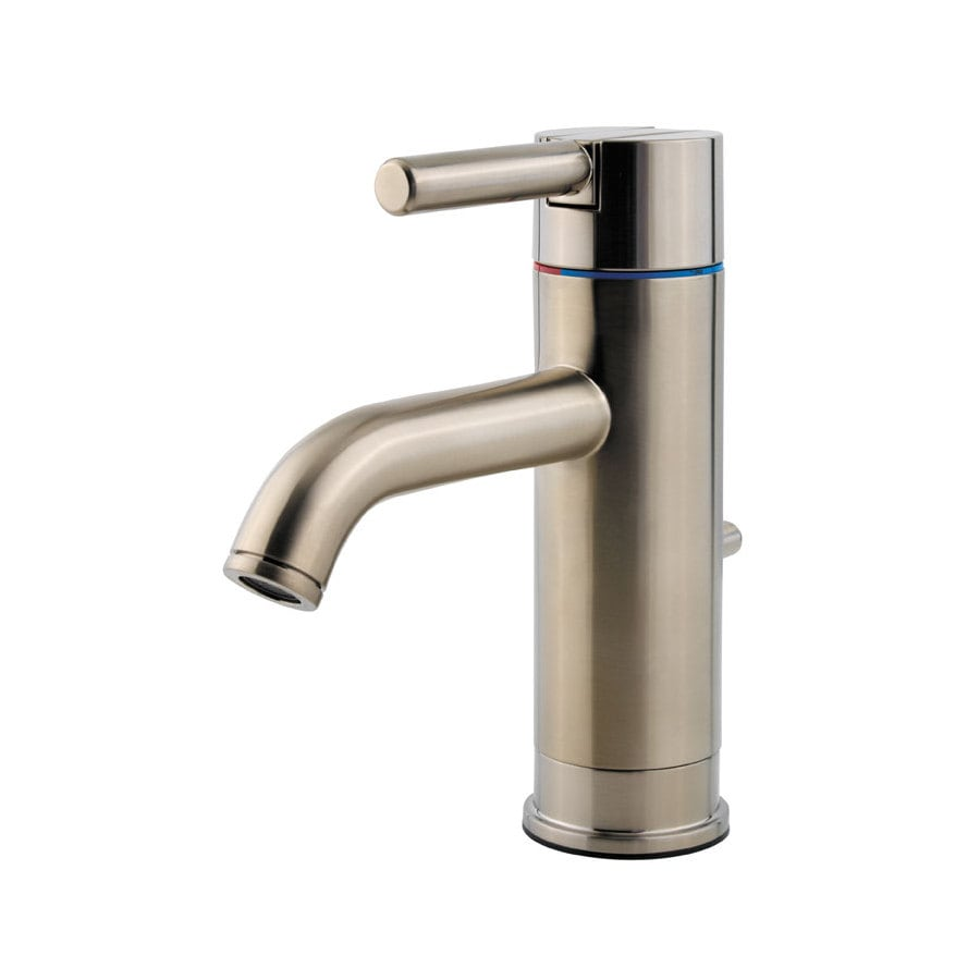 brushed nickel 1 handle single hole watersense bathroom faucet drain