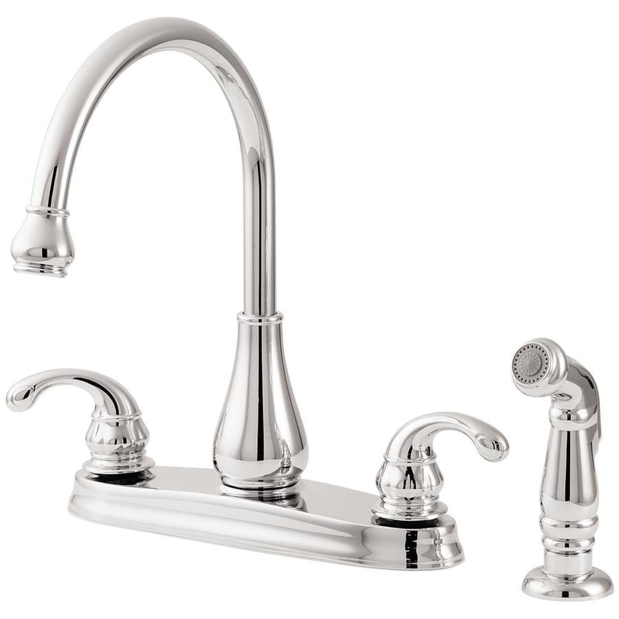 Pfister Treviso Polished Chrome 2-Handle High-Arc Kitchen Faucet with Side Spray