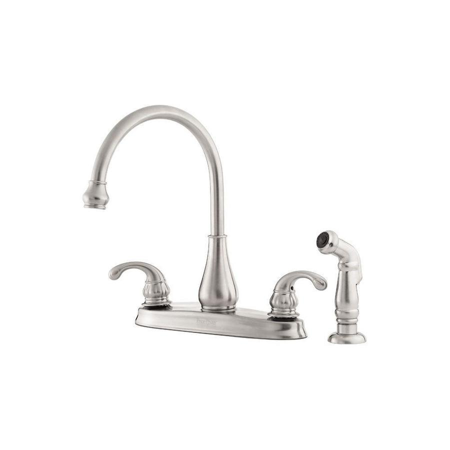 Pfister Treviso Stainless Steel 2-Handle High-Arc Kitchen Faucet with Side Spray