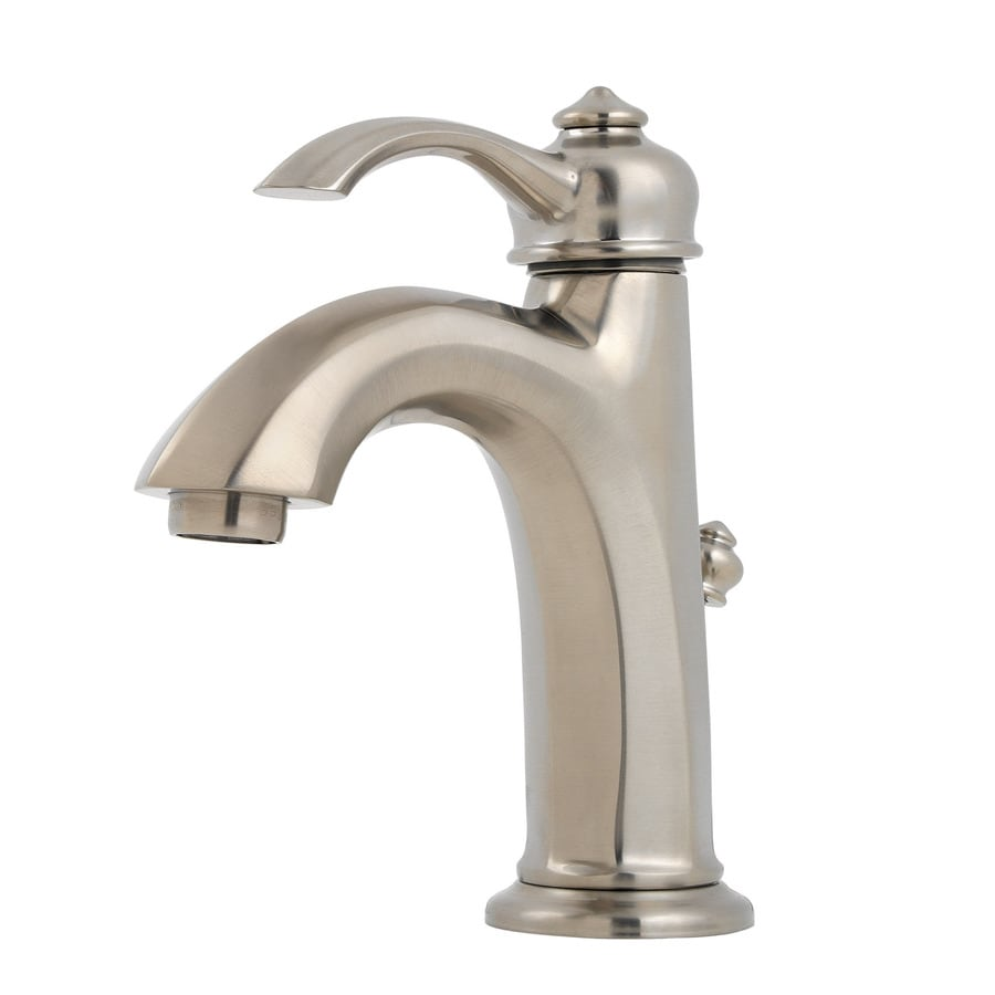 Shop pfister portola brushed nickel 1 handle single hole for Single hole bathroom faucets