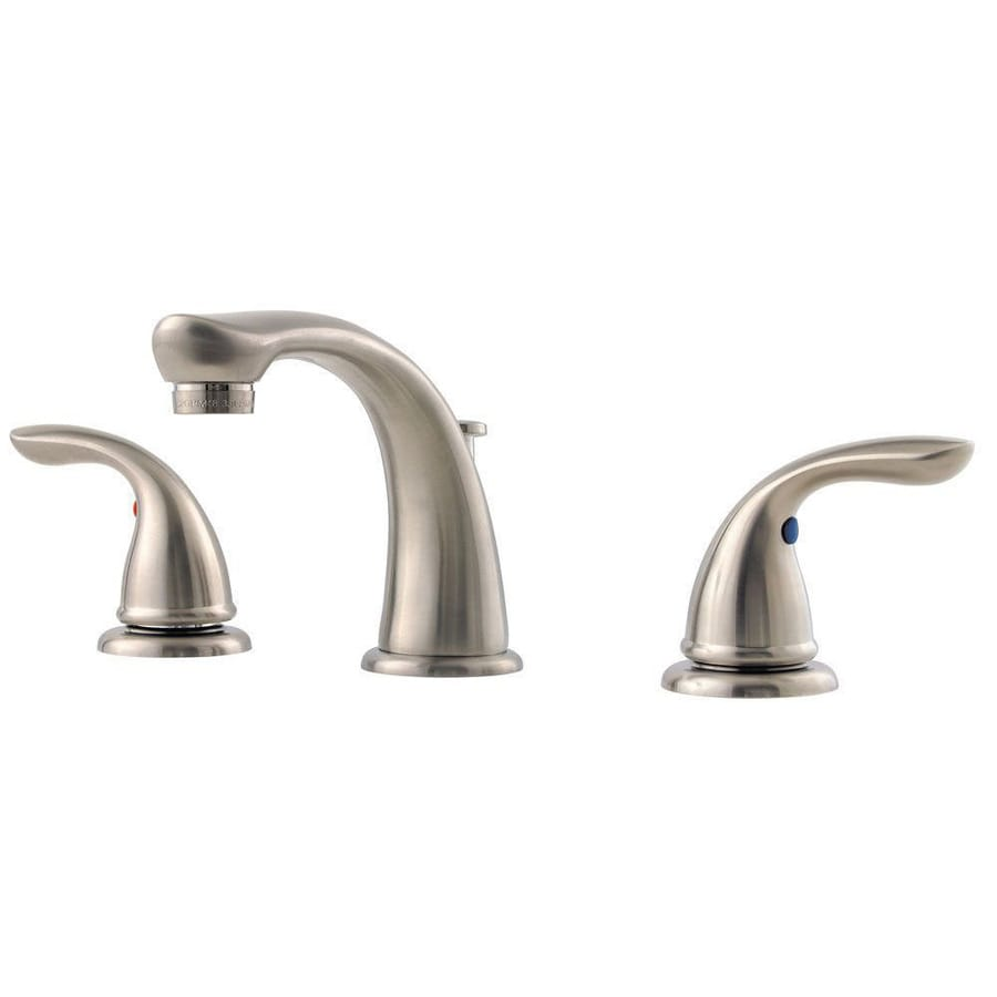 Pfister Pfirst Brushed Nickel 2-Handle Widespread WaterSense Bathroom Faucet (Drain Included)