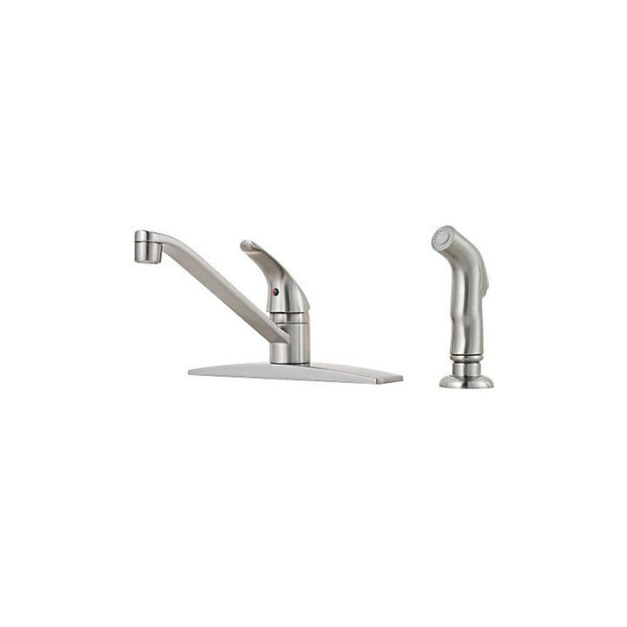 Pfister Pfirst Series Stainless Steel 1-Handle Low-Arc Kitchen Faucet with Side Spray