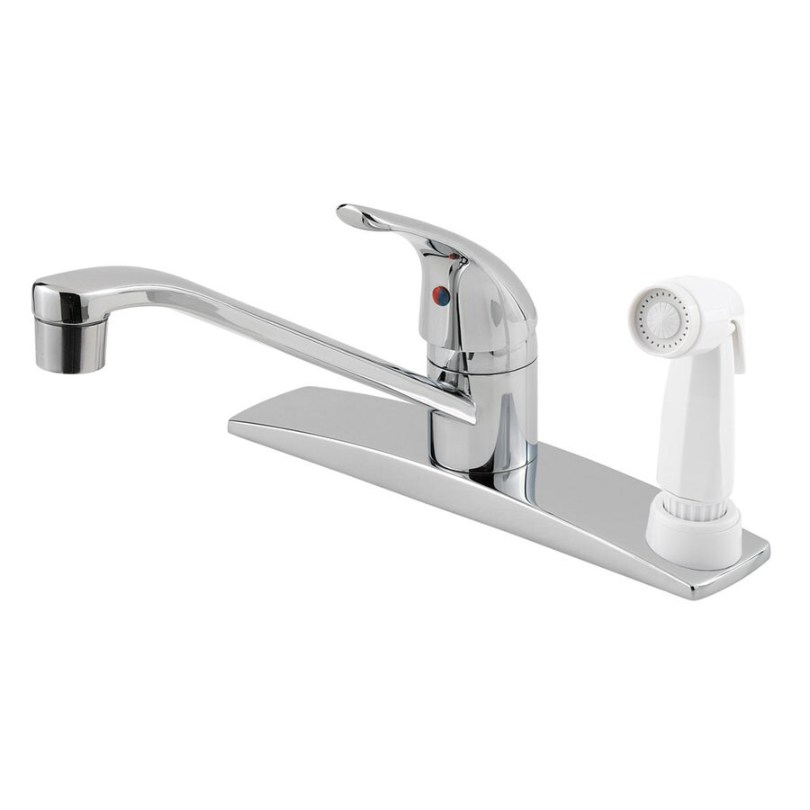 Pfister Pfirst Series Polished Chrome 1-Handle Low-Arc Kitchen Faucet with Side Spray