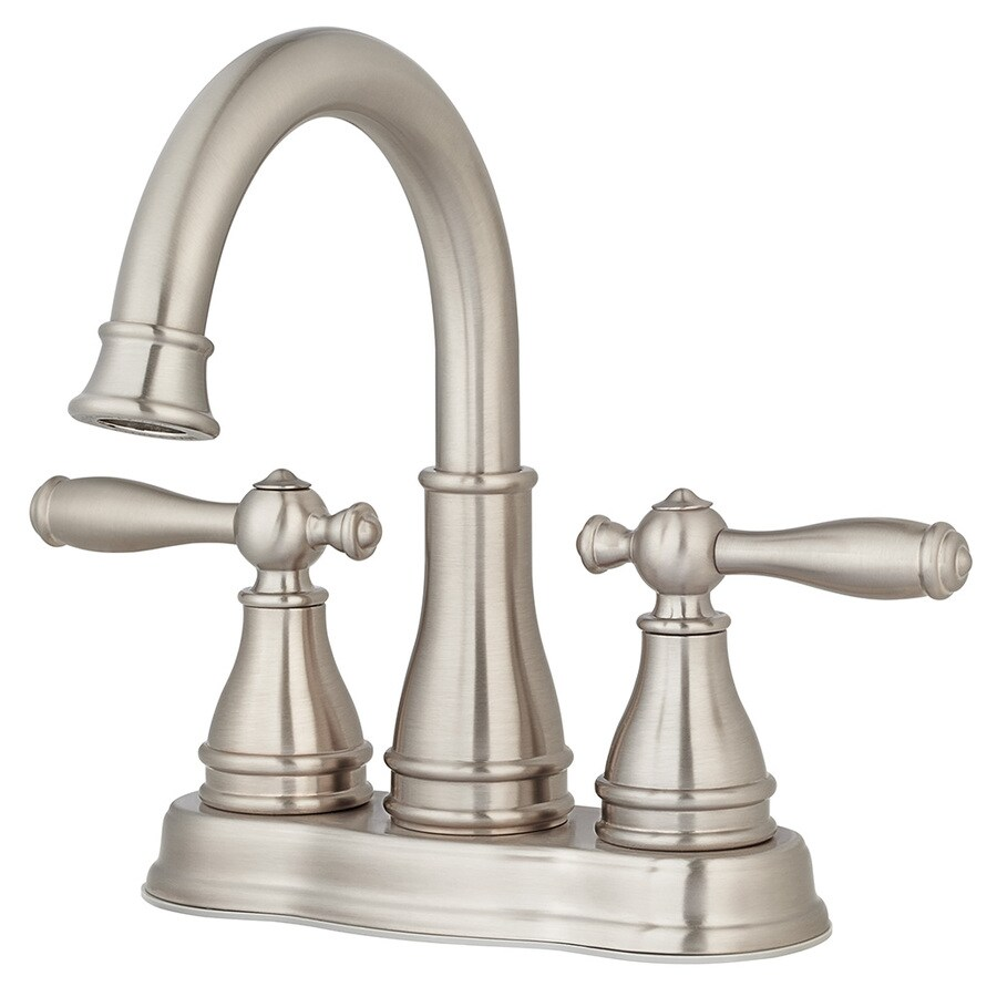 Pfister Classic Brushed Nickel 2-Handle 4-in Centerset WaterSense Bathroom Sink Faucet (Drain Included)