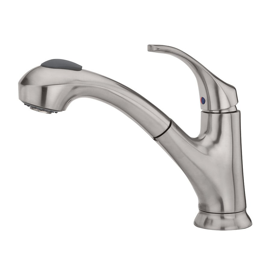 Shop pfister shelton stainless steel 1 handle deck mount pull out kitchen faucet at lowes com
