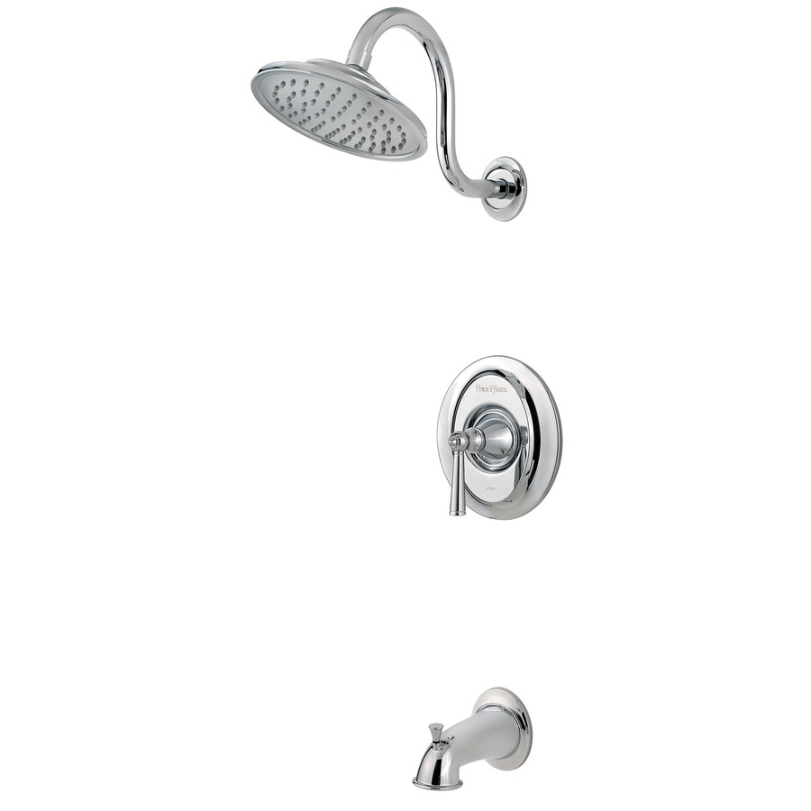Pfister Saxton Polished Chrome 1-Handle WaterSense Bathtub and Shower Faucet Trim Kit with Rain Showerhead