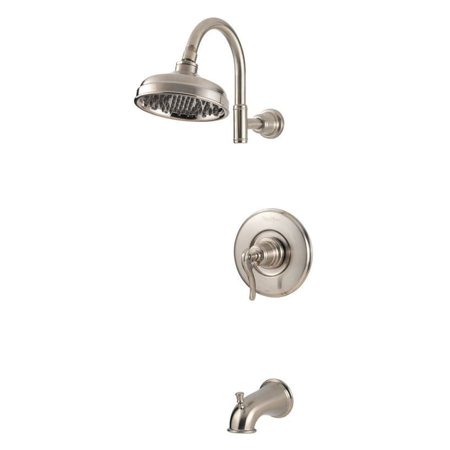 Pfister Ashfield Brushed Nickel 1-Handle WaterSense Bathtub and Shower Faucet Trim Kit with Rain Showerhead