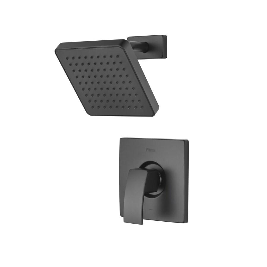 Pfister Kenzo Matte Black 1-Handle Shower Faucet Trim Kit with Rain Showerhead