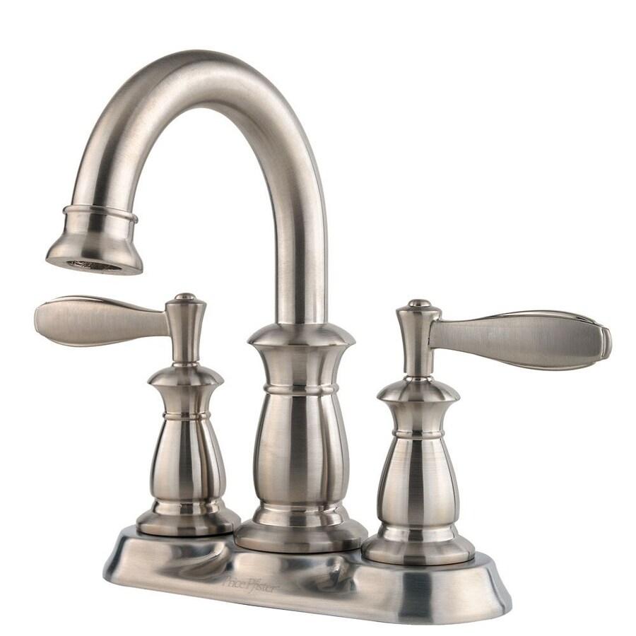 Pfister Langston Brushed Nickel 2-Handle 4-in Centerset WaterSense Bathroom Faucet (Drain Included)