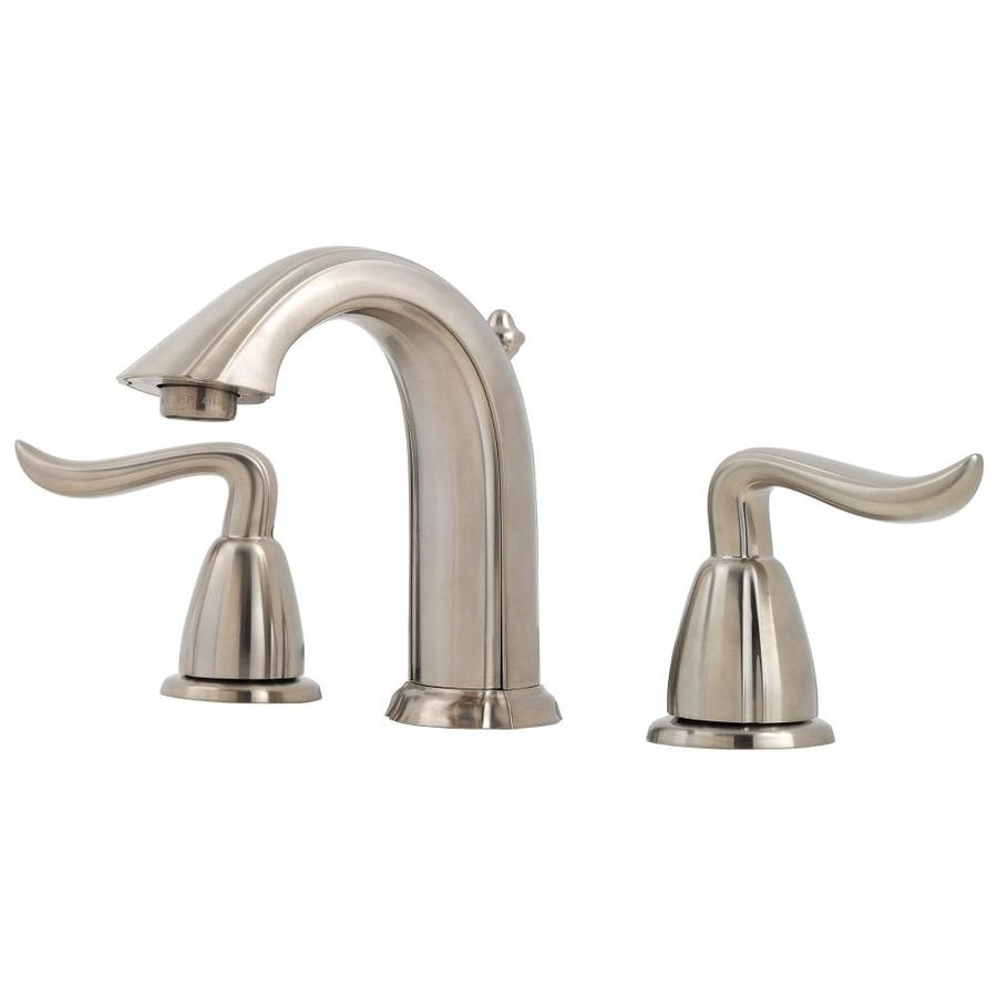Pfister Santiago Brushed Nickel 2-Handle Widespread WaterSense Bathroom Faucet (Drain Included)