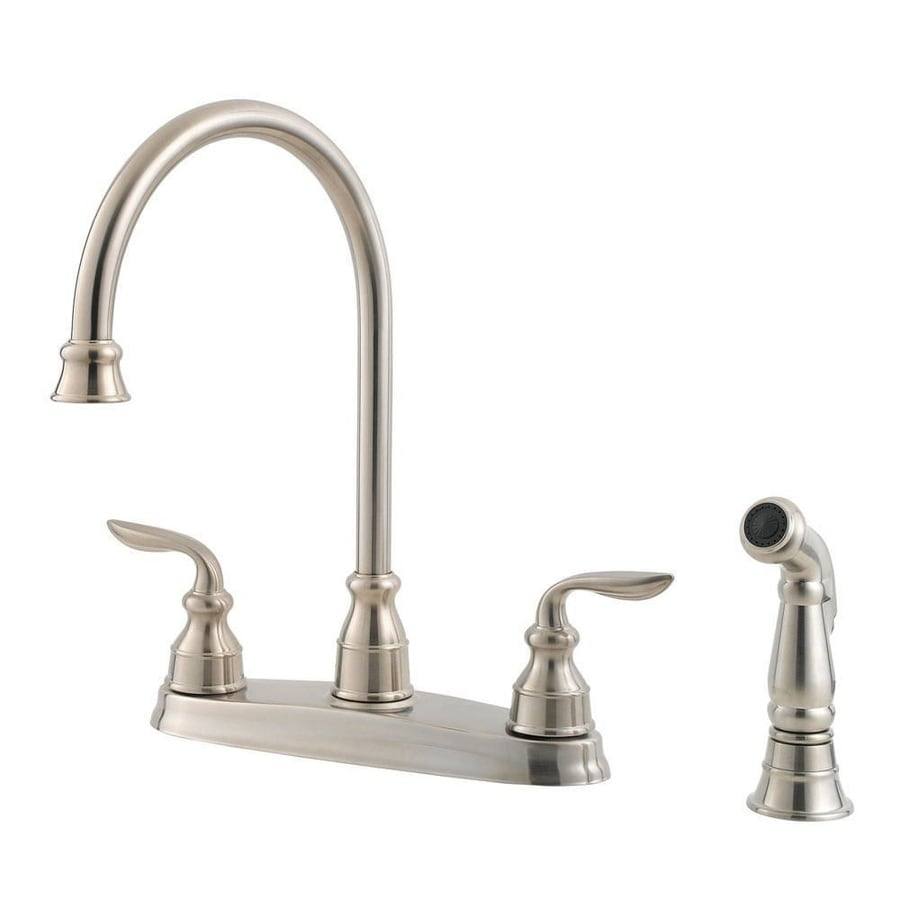 Pfister Avalon Stainless Steel 2-Handle High-Arc Kitchen Faucet with Side Spray