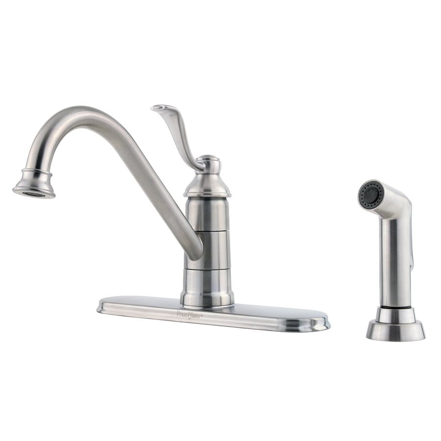 Pfister Portland Stainless Steel 1-Handle High-Arc Kitchen Faucet with Side Spray