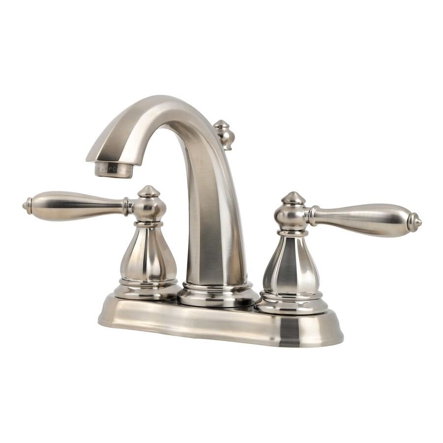 Pfister Portola Brushed Nickel 2-Handle 4-in Centerset WaterSense Bathroom Faucet (Drain Included)
