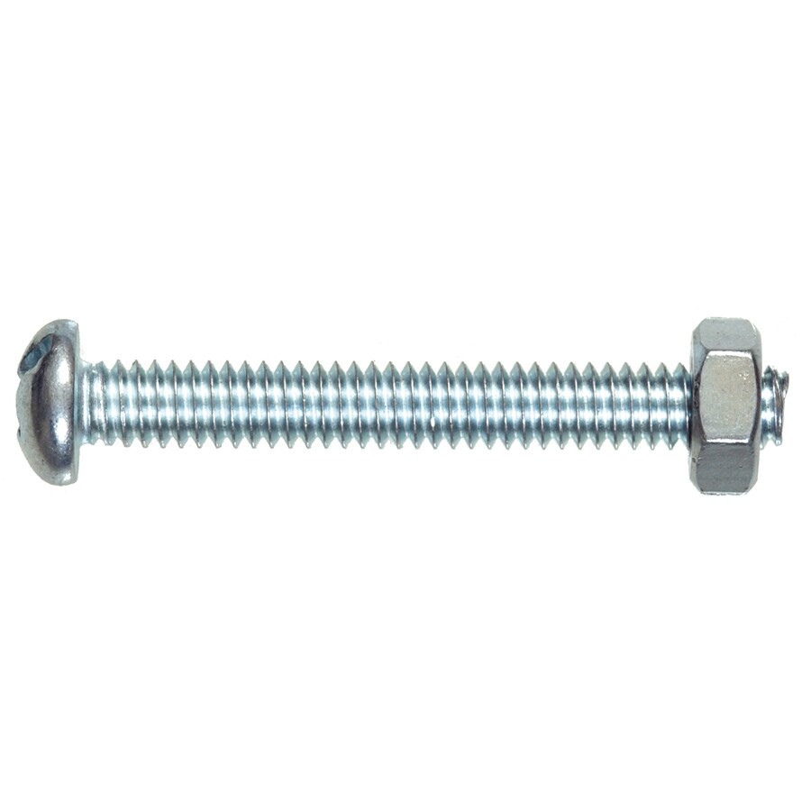 Blue Hawk 4-Count #14 1/4-in- 20 x 1-in Round-Head Zinc-Plated Slotted-Drive Standard (SAE) Machine Screws