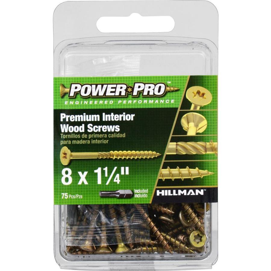 Power Pro 75-Count #8 x 1.25-in Flat-Head Zinc-Plated Self-Drilling Star-Drive Interior Wood Screws