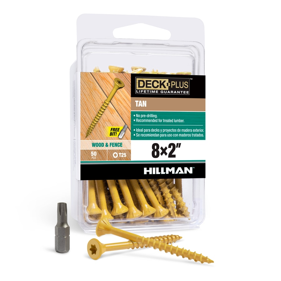 The Hillman Group 50-Count #8 x 2-in Countersinking-Head Tan Star-Drive Deck Screws