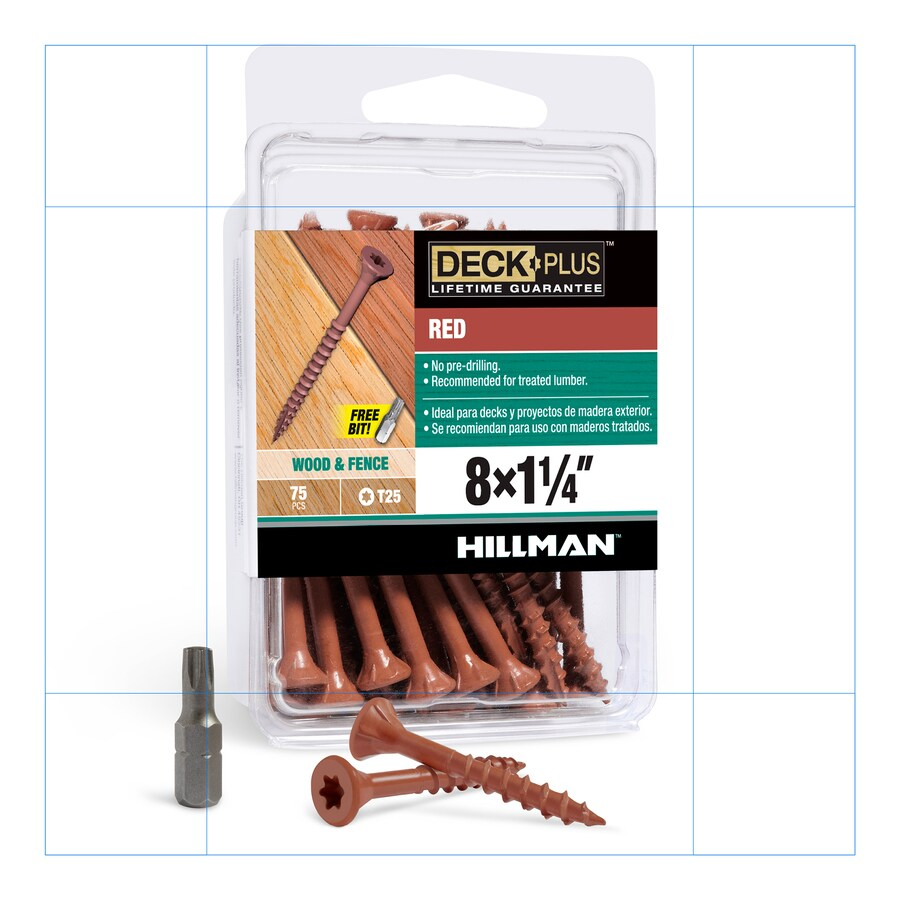 The Hillman Group 75-Count #8 x 1.25-in Countersinking-Head Red Star-Drive Deck Screws