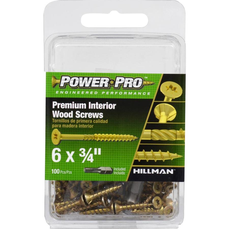 Power Pro 100-Count #6 x 0.75-in Flat-Head Zinc-Plated Self-Drilling Star-Drive Interior Wood Screws