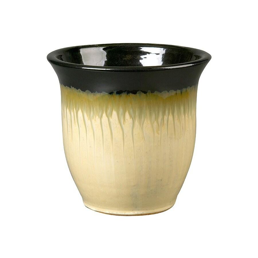 12-1/4-in H x 14-7/8-in W x 14-7/8-in D Black Glazed Ceramic Indoor/Outdoor Pot