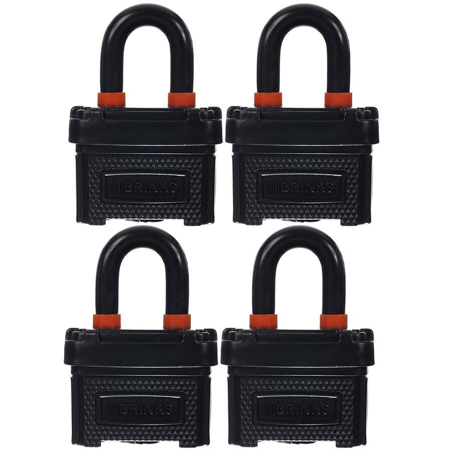 Brink's Home Security 4-Pack 2.3-in Steel Shackle Keyed Padlocks