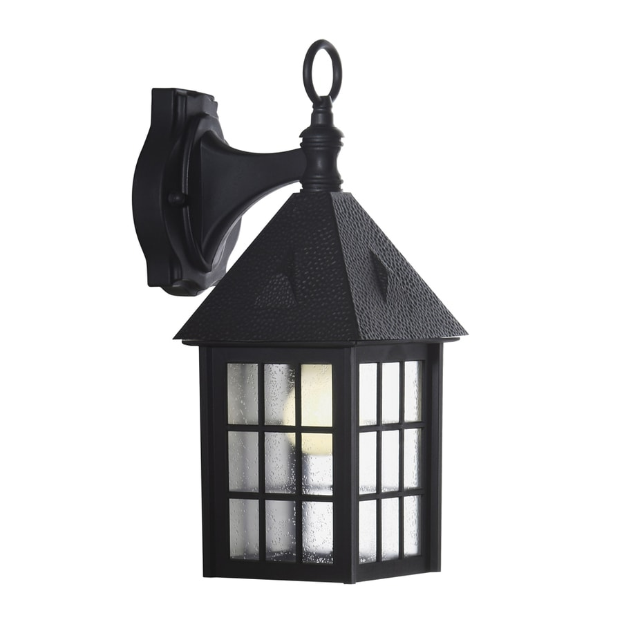 Portfolio 15.12-in H Black Outdoor Wall Light
