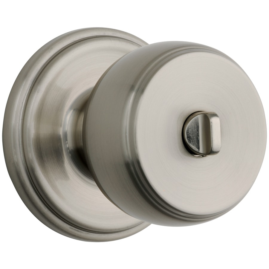 Brink's Home Security Push Pull Rotate Satin Nickel Round Turn-Lock Privacy Door Knob