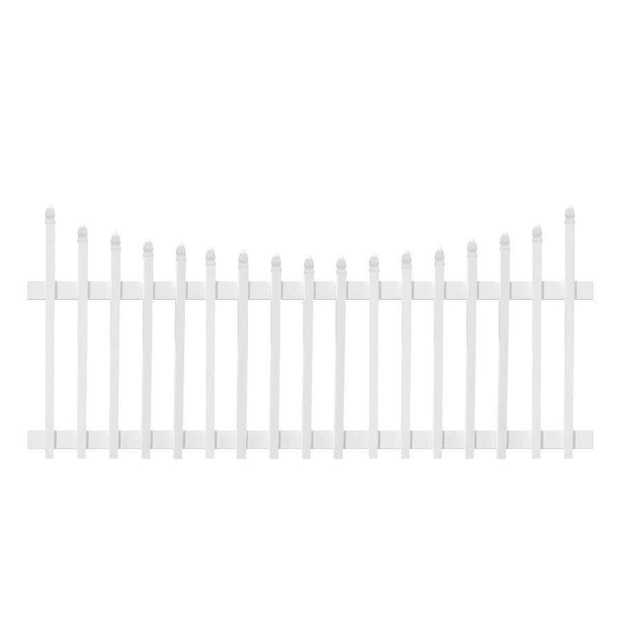Plastival 3-1/2-ft x 8-ft White Scalloped Picket Vinyl Fence Panel