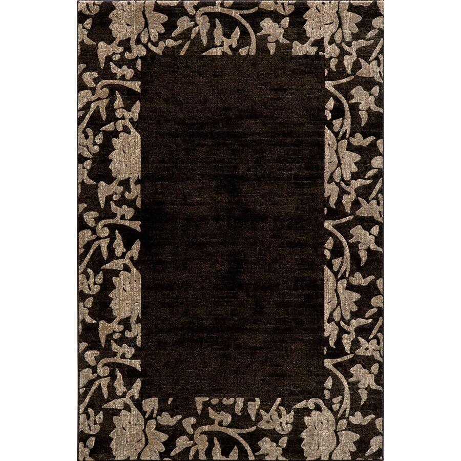 Momeni Crosby Rectangular Black with Brown Border Area Rug (Common: 10-ft x 13-ft; Actual: 9-ft 3-in x 12-ft 6-in)