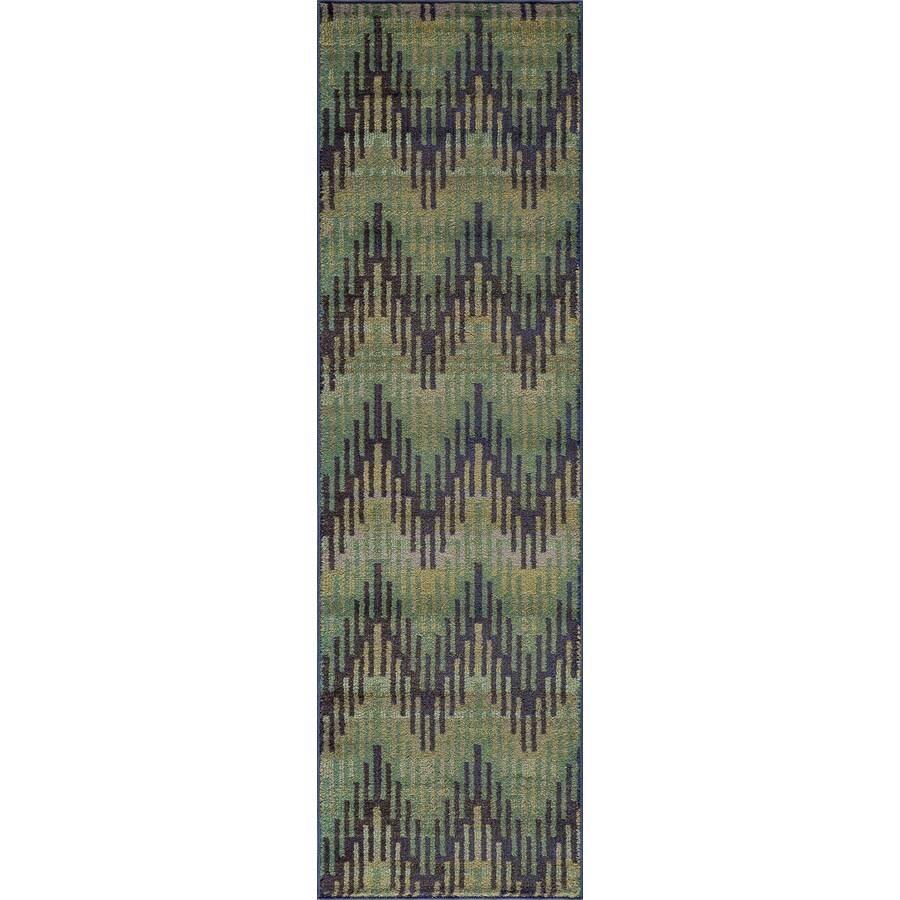 Momeni Jarret Green Rectangular Indoor Woven Runner (Common: 2 x 8; Actual: 27-in W x 90-in L)