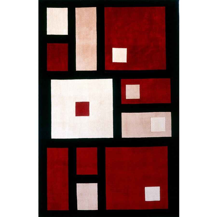 Momeni Powell Rectangular Black Geometric Tufted Wool Area Rug (Common: 5-ft x 8-ft; Actual: 5.25-ft x 8-ft)
