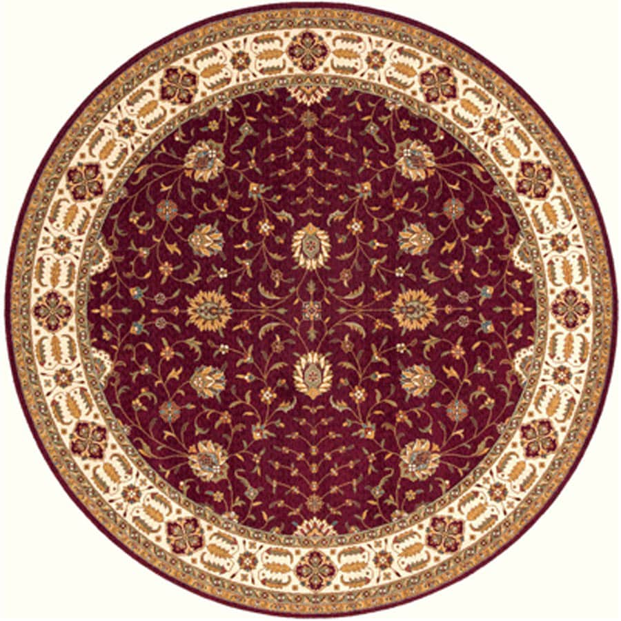 Momeni Giselle 5-ft x 5-ft Round Red Border Wool Area Rug