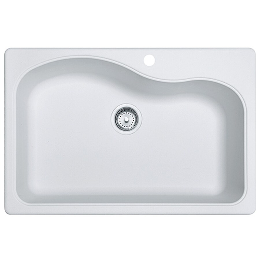 Franke Gravity 33-in x 22-in White Single-Basin Granite Drop-in or Undermount 4-Hole Commercial/Residential Kitchen Sink