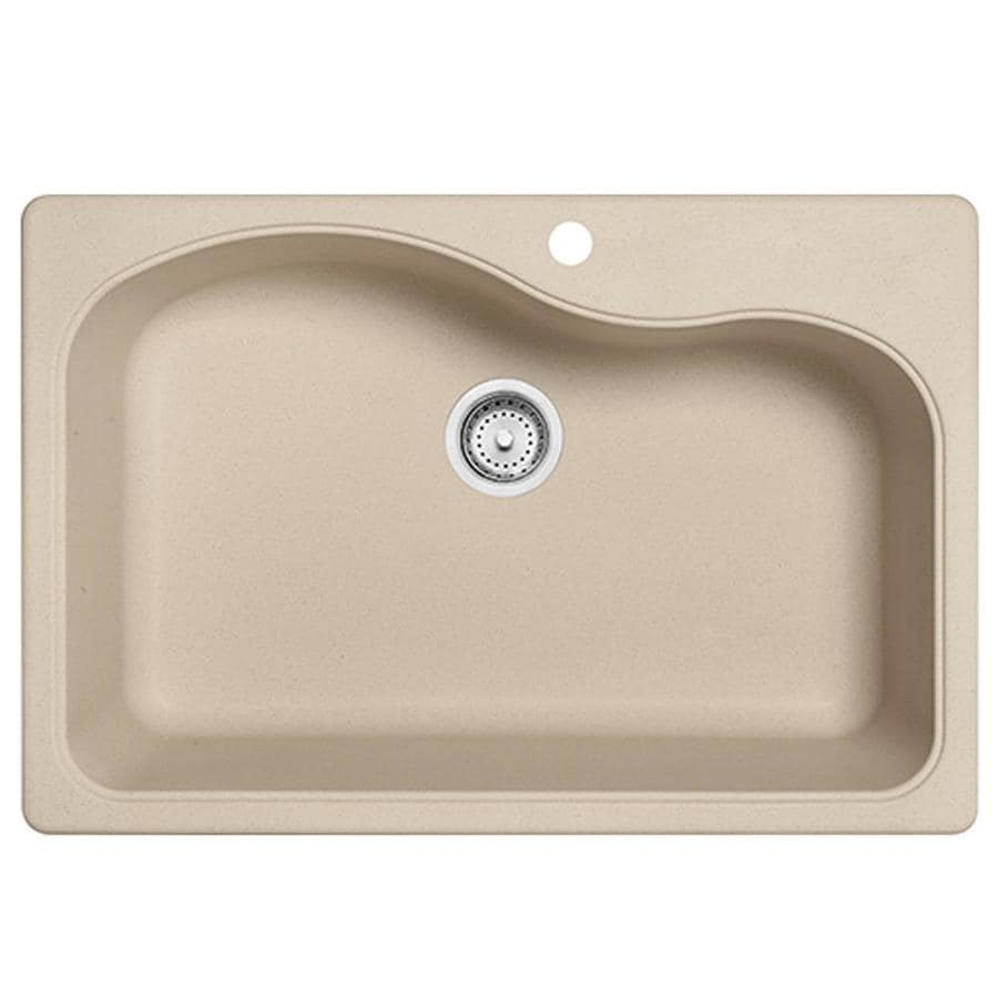 Franke Gravity 33-in x 22-in Champagne Single-Basin Granite Drop-in or Undermount 4-Hole Commercial/Residential Kitchen Sink