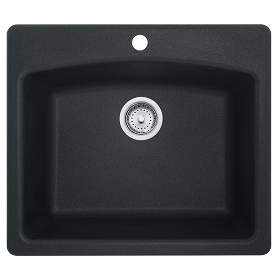 Franke USA Ellipse 25-in x 22-in Onyx Single-Basin Granite Drop-in or Undermount 4-Hole Commercial/Residential Kitchen Sink