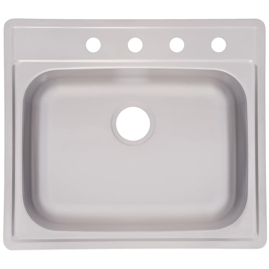 Kindred Essential 25-in x 22-in Satin Deck and Bowl Single-Basin Stainless Steel Drop-in 4-Hole Commercial/Residential Kitchen Sink