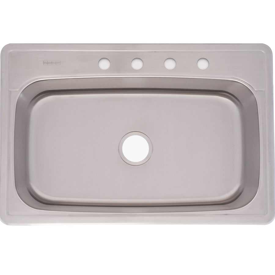 Kindred Essential 33-in x 22-in Silk Deck and Bowl Single-Basin Stainless Steel Drop-in 4-Hole Commercial/Residential Kitchen Sink