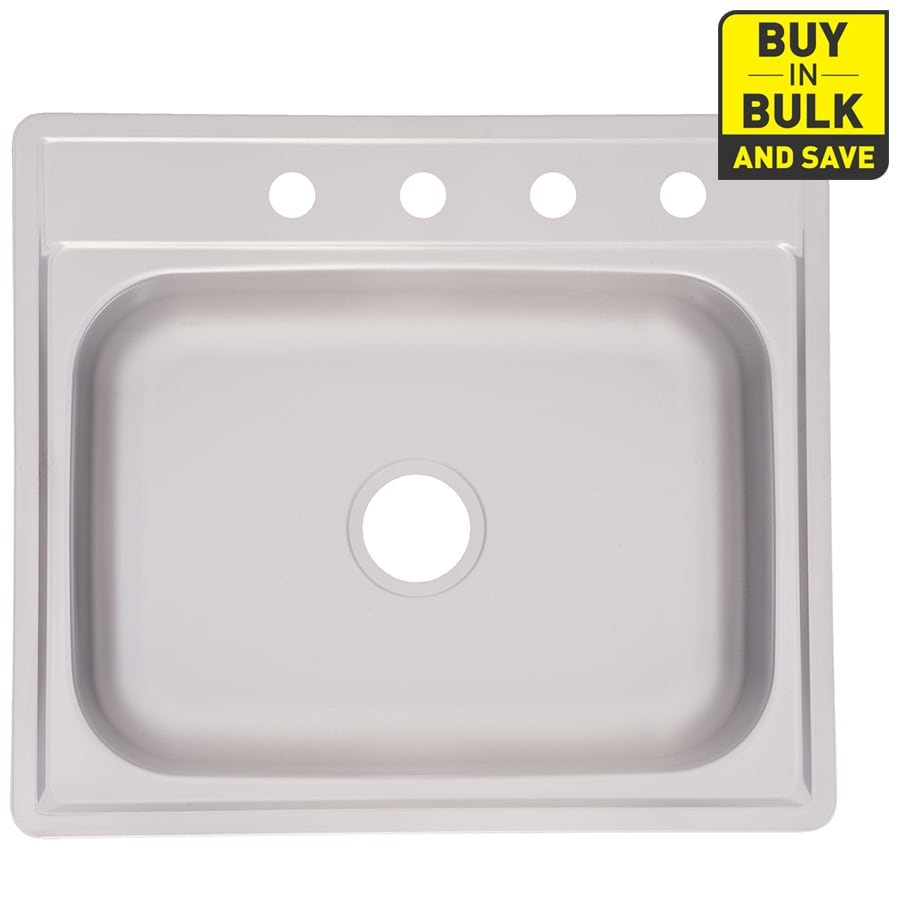 Project Source 25-in x 22-in Satin Deck and Bowls Single-Basin Stainless Steel Drop-In-Hole Kitchen Sink