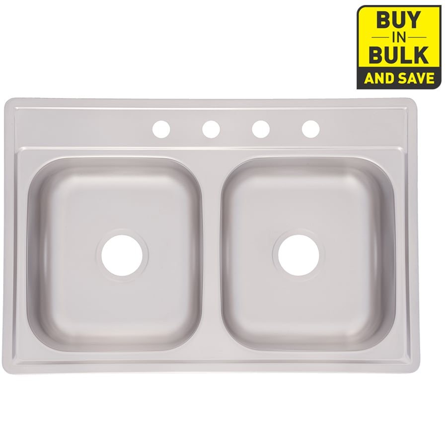 Project Source 33-in x 22-in Satin Deck and Bowls Double-Basin Stainless Steel Drop-In-Hole Kitchen Sink