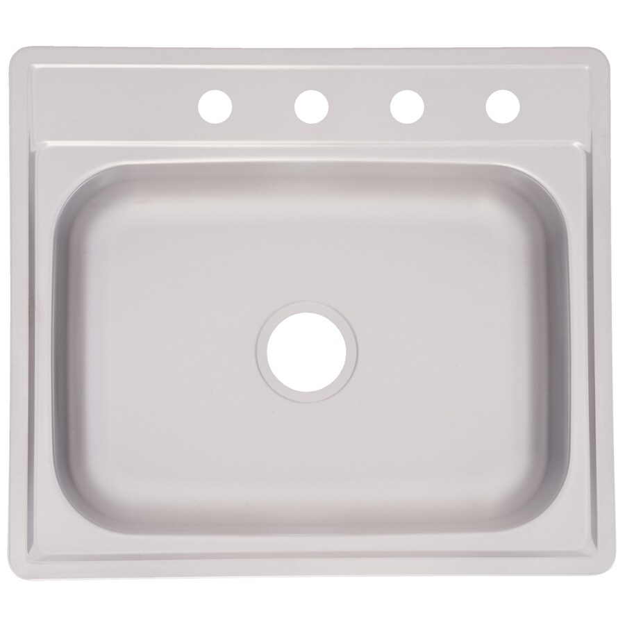 Project Source 22-in x 25-in Satin Single-Basin Stainless Steel Drop-In Kitchen Sink
