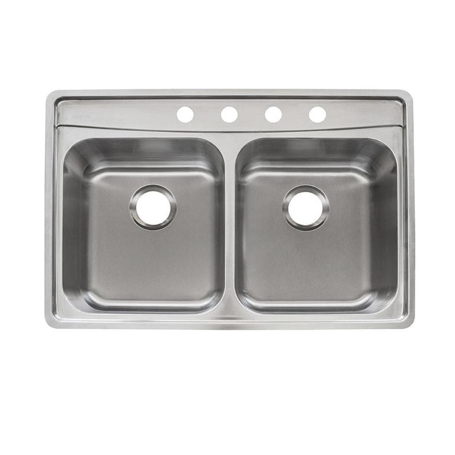 Franke USA Fast-in 33.5-in x 22.5-in Stainless Steel Double-Basin ...
