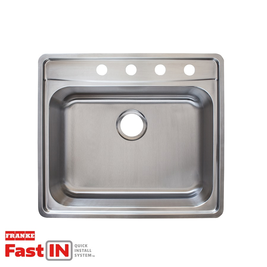 Franke Fast-in 25.5-in x 22.5-in Stainless Steel Single-Basin Stainless Steel Drop-in 4-Hole Commercial/Residential Kitchen Sink