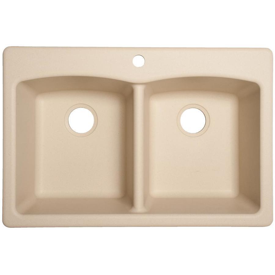 Franke Ellipse 33-in x 22-in Linen Double-Basin Granite Drop-in or Undermount 4-Hole Commercial/Residential Kitchen Sink