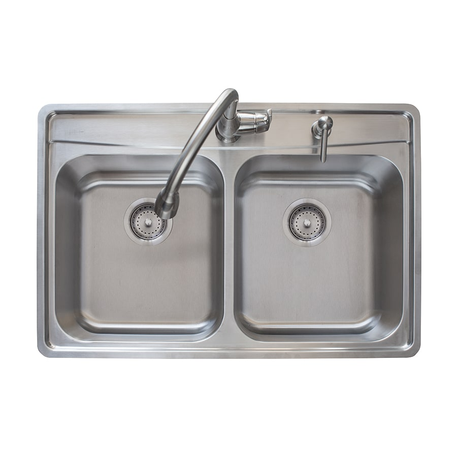 Franke Fast-in 33.5-in x 22.5-in Stainless Steel Double-Basin Stainless Steel Drop-in 2-Hole Commercial/Residential Kitchen Sink All-In-One Kit