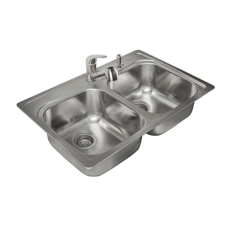 Kindred 33-in x 22-in Stainless Steel 2 Stainless Steel Drop-in 2-Hole Commercial/Residential Kitchen Sink All-In-One Kit