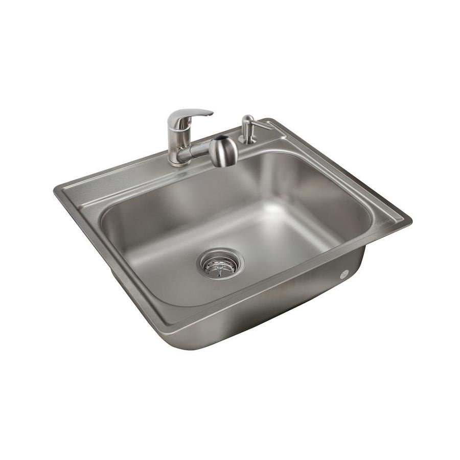 Kindred 25-in x 22-in Stainless Steel Single-Basin Stainless Steel Drop-in 2-Hole Commercial/Residential Kitchen Sink All-In-One Kit