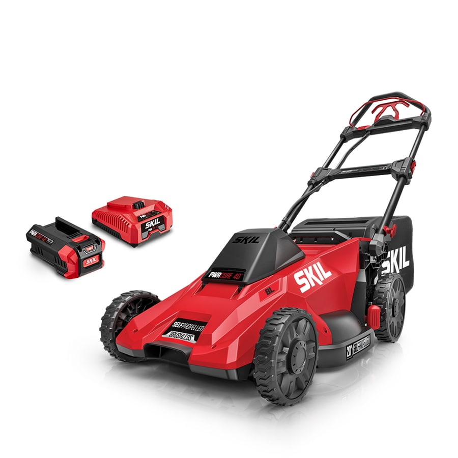 Skil 40 Volt Brushless Lithium Ion Self Propelled 20 In Cordless Electric Lawn Mower Battery Included In The Cordless Electric Push Lawn Mowers Department At Lowes Com