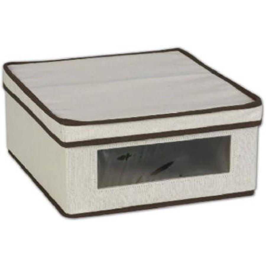 Household Essentials 5.5-in W x 12.25-in H x 13.25-in D Natural with Brown Trim Fabric Bin