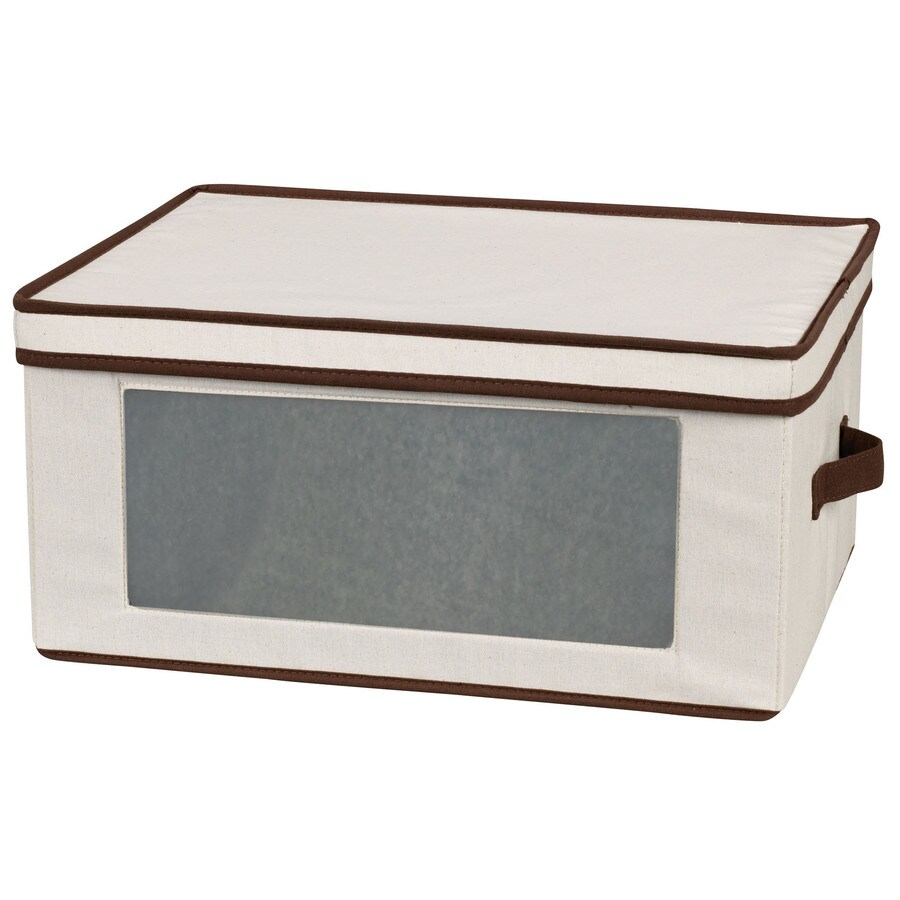 Household Essentials 10.5-in W x 13-in H x 16.5-in D Natural with Brown Trim Fabric Bin