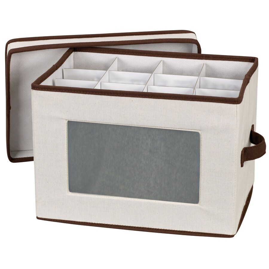 Household Essentials 9.75-in W x 11-in H x 14.5-in D Natural with Brown Trim Fabric Bin